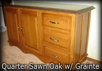 Quarter sawn oak sideboard with grainte top